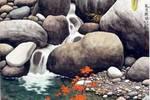 漂亮的工笔绘画,画石头和溪水以假乱真,作品却受到了质疑