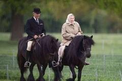 92岁女王不服老戴头巾骑马,97岁丈夫驾驶四匹马,绅士范不减当年