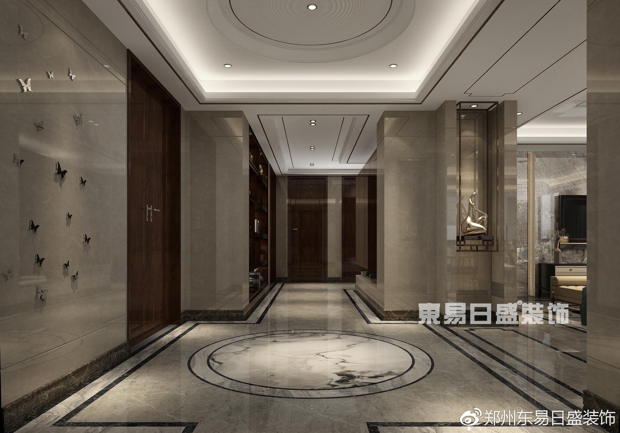 喜欢新颖,创造性的东西,偏爱新中式风格,设计中,将入户门对面卫生间