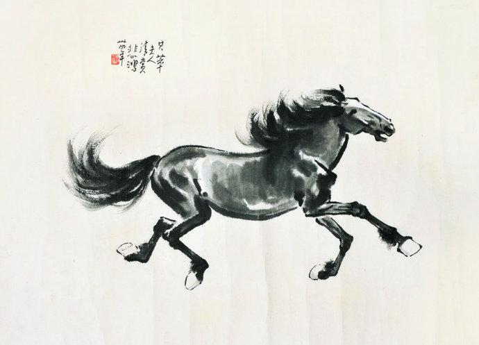 徐悲鸿画马水墨画马绘画步骤 作品欣赏图片