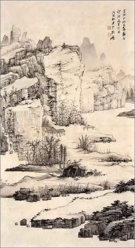 张大千 戊寅(1938年)秋月山水画水墨山水立轴图片