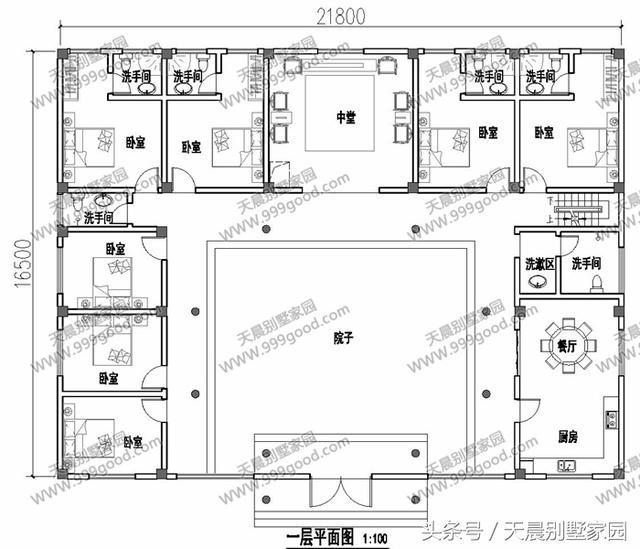 设计功能:  一层别墅设计图:院子,中堂,餐厅,厨房,7个卧室,6个卫生间