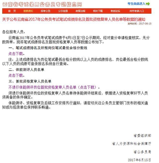 真来了 2017云南公务员考试资格复审名单及排名图片