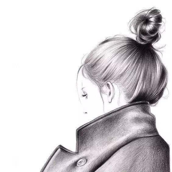 手绘时尚插图 / 她的画风比较素雅 但是就是以黑白色画出了发型的质感