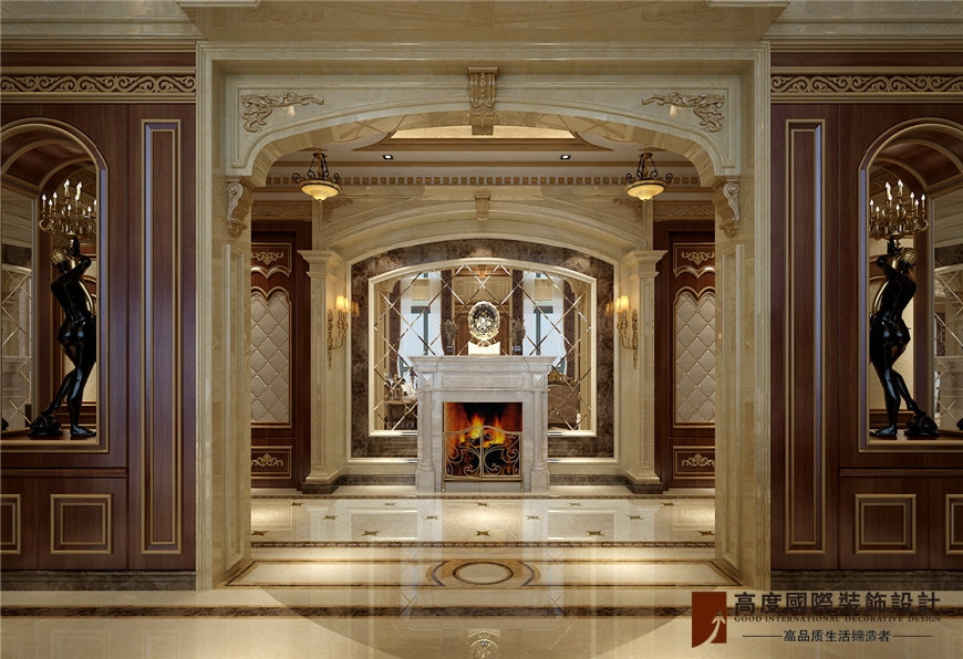自建别墅装修设计 别墅门厅设计 门厅处一处玄关设计,壁炉设计整个