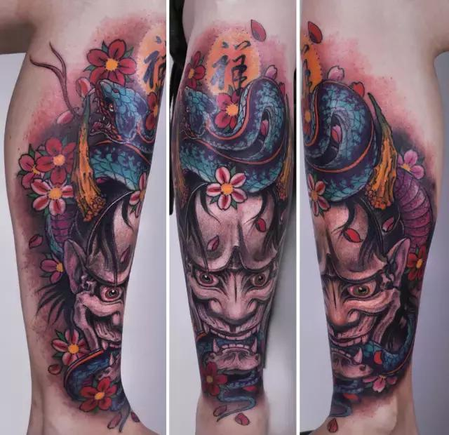 面孔;来自我国特有的鬼神传说风格;来自对刺青人来说极具纪念意义的