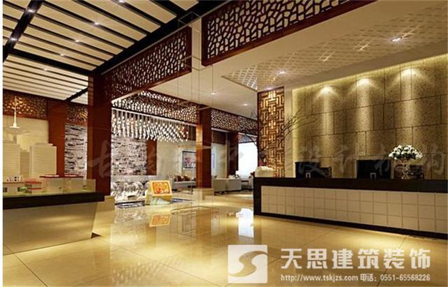中式酒店装修大厅收银台设计时尚高贵,走进酒店之后,就让人感到与众不
