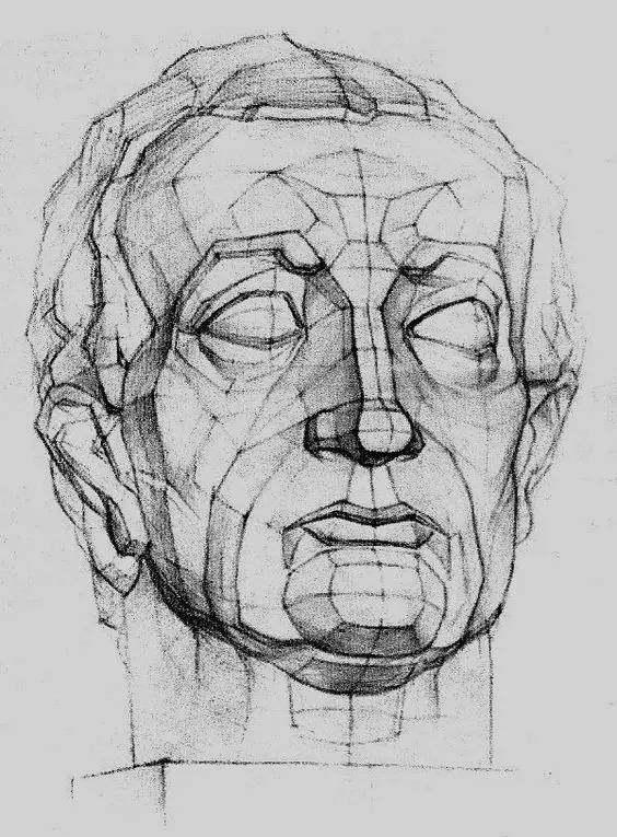 科技 正文  人物头像也是从石膏几何体切割分化而成,头像脸部的起伏