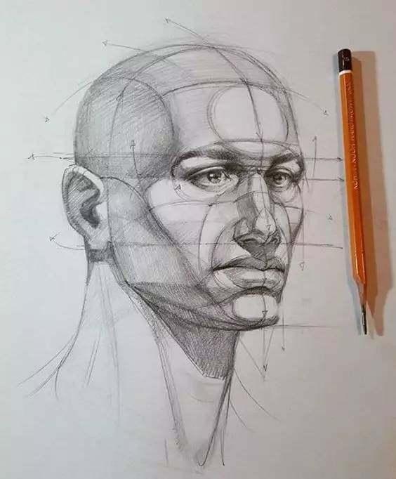 需了解清楚头部与脖子的衔接和结构的穿插,五官的的结构.