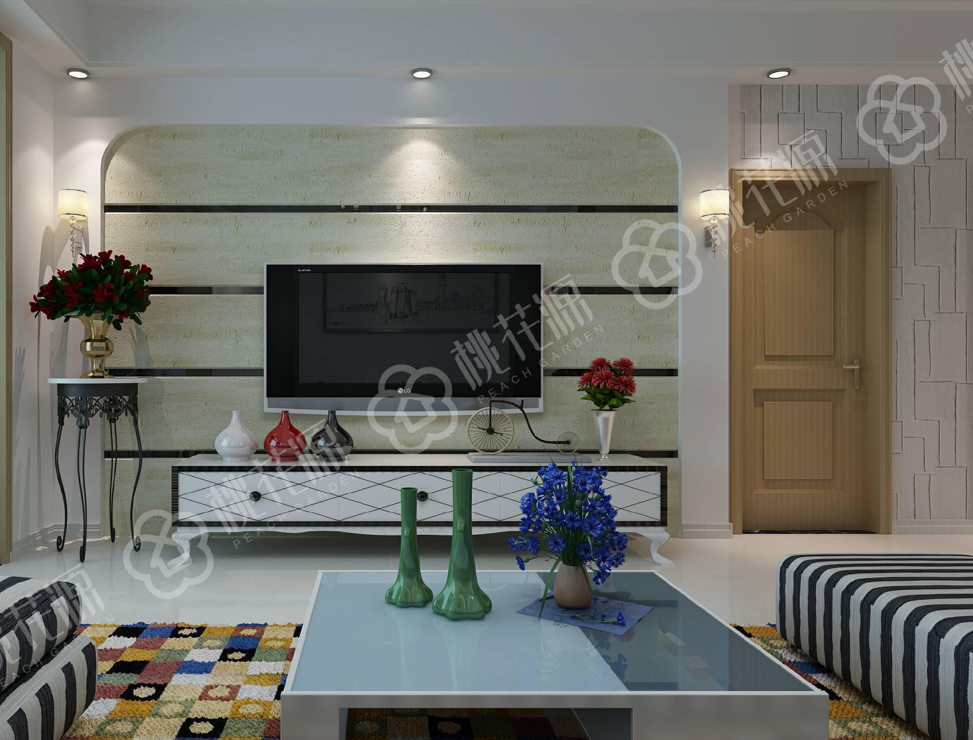 硅藻泥电视墙造型图