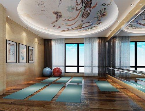 南昌九颂山河小区220平武侠风复式楼装修:瑜伽室,头上的吊顶吸引眼球图片