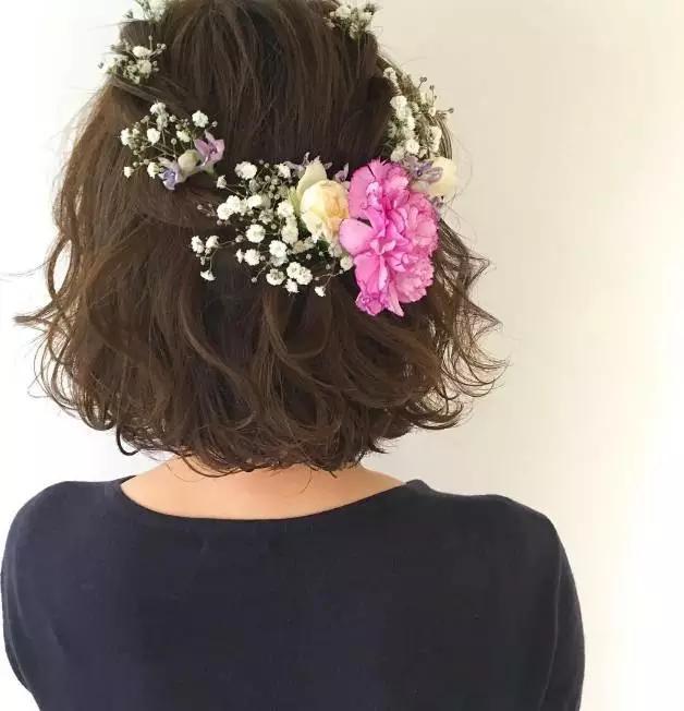 最新森系鲜花新娘发型,长发短发都能美得如此惊艳图片