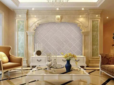 奢华盛饰石材罗马柱背景墙实拍,石材背景墙效果图