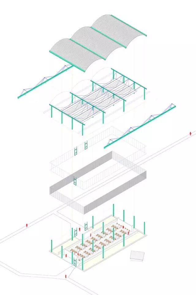 通过结构和建造分析图表现不同材料之间的连接可以有效的组织整体