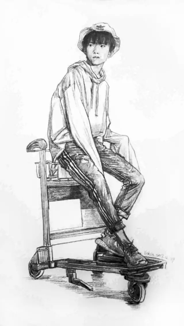 易烊千玺速写手绘,美术生想画哪个爱豆都可以!