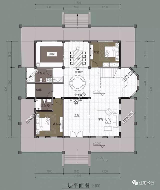 农村实用别墅户型,堂屋这么设计合理吗?