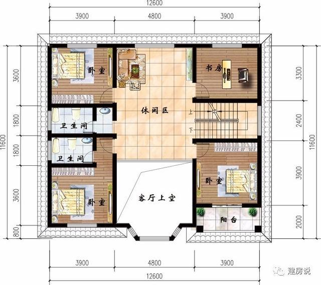 两层带挑空客厅农村别墅,空间很通透,卧室很宜居