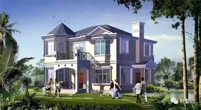 这款农村别墅外观清新时尚,门厅的柱子设计显得高端而大气,坡屋顶与