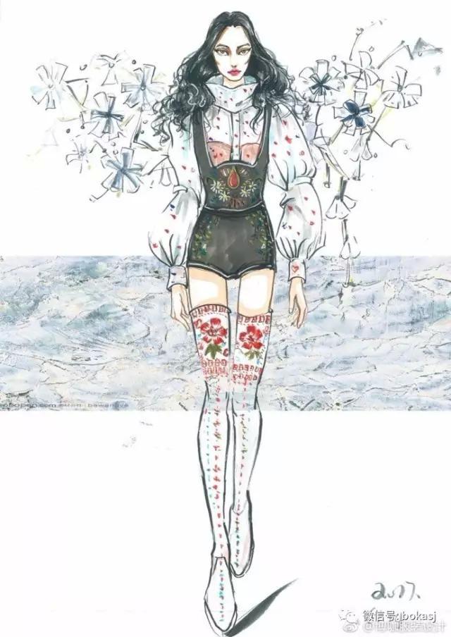 博咖服装手绘图:五颜六色,光怪陆离,怎能不爱