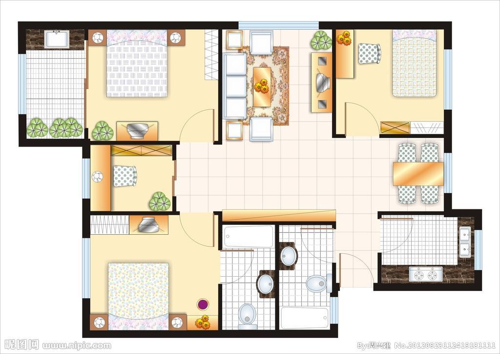 三居室室内设计平面图
