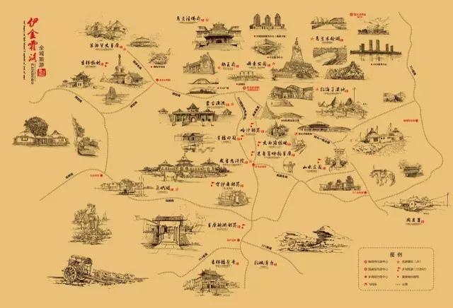 伊金霍洛旅游手绘地图——给你一张图,邂逅一座城