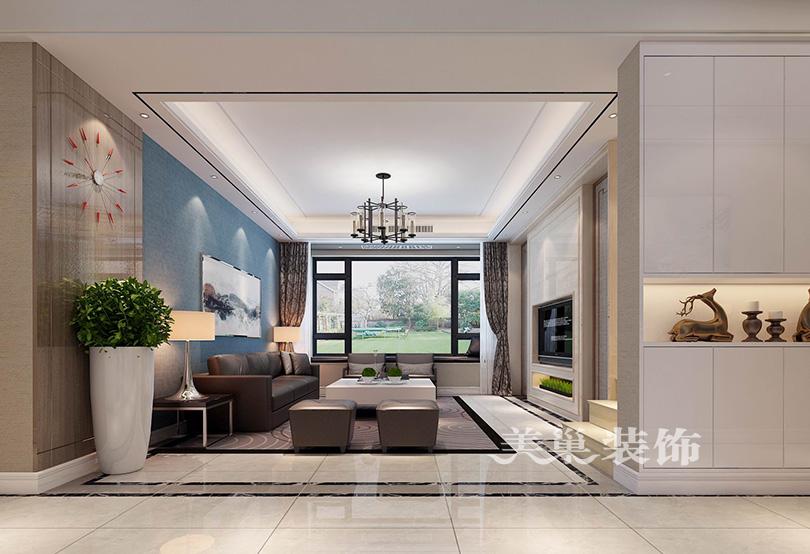 建业桂园239平复式现代设计,最爱天蓝沙发背景墙图片