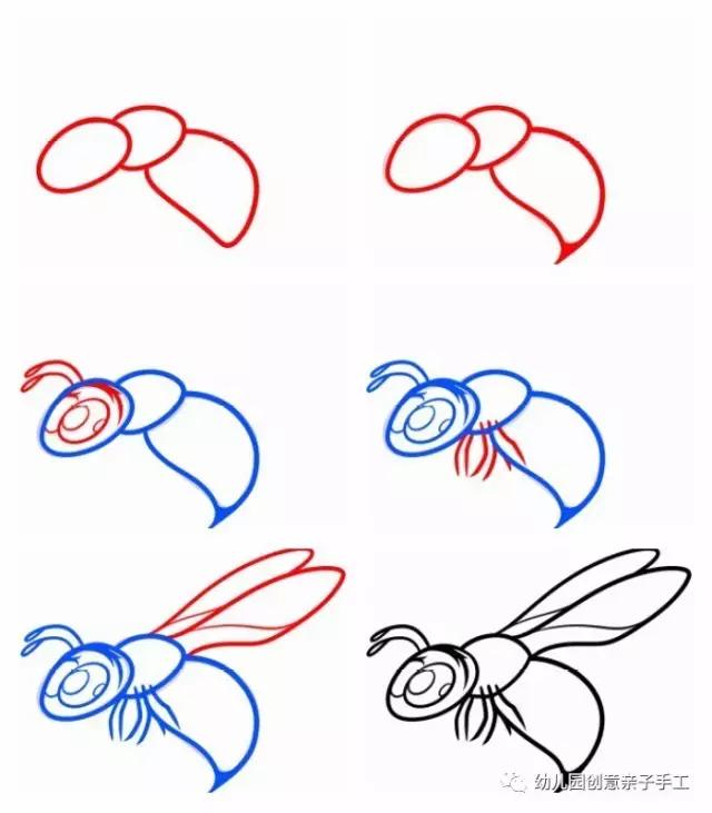 简笔画 多种飞鸟与昆虫的画法