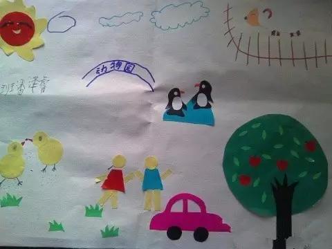 在客厅做了一幅剪贴画.   剪贴画 两只可爱的小企鹅正在快乐地做游