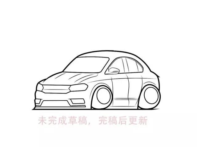 手绘q版汽车简笔画