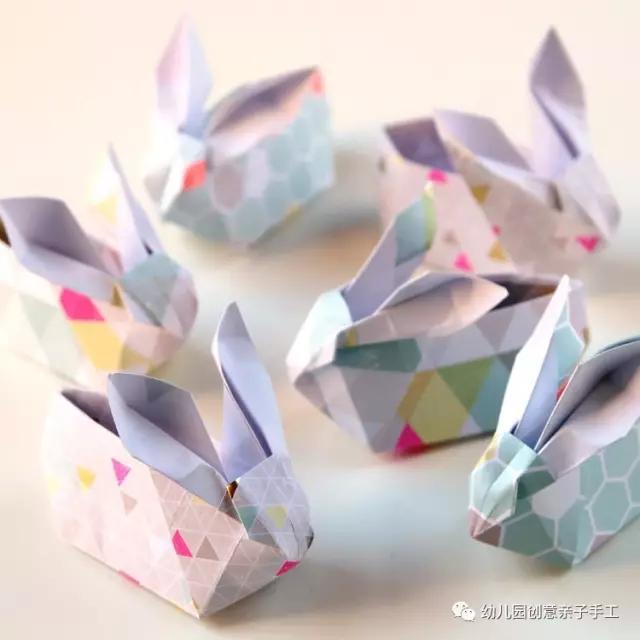 幼儿园创意亲子手工之折纸:小兔子收纳盒