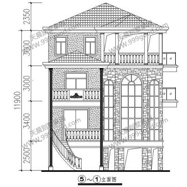 农村9.5x13米别墅,架空式地下室,双车库!全图图片