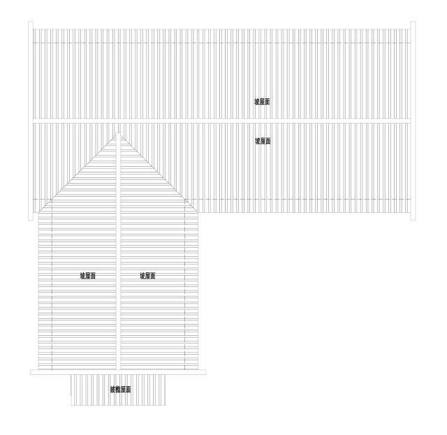 △屋顶平面图   △南立面图   △西立面图   别墅一层设有两处客房,分别带独立卫生间,旁边则是会议室和户外庭院,最左侧则是餐厅;二层的仍设有两处客房,不仅带有独立卫生间,还有衣帽间,在一角设有书房~   △一层平面图   △二层平面图