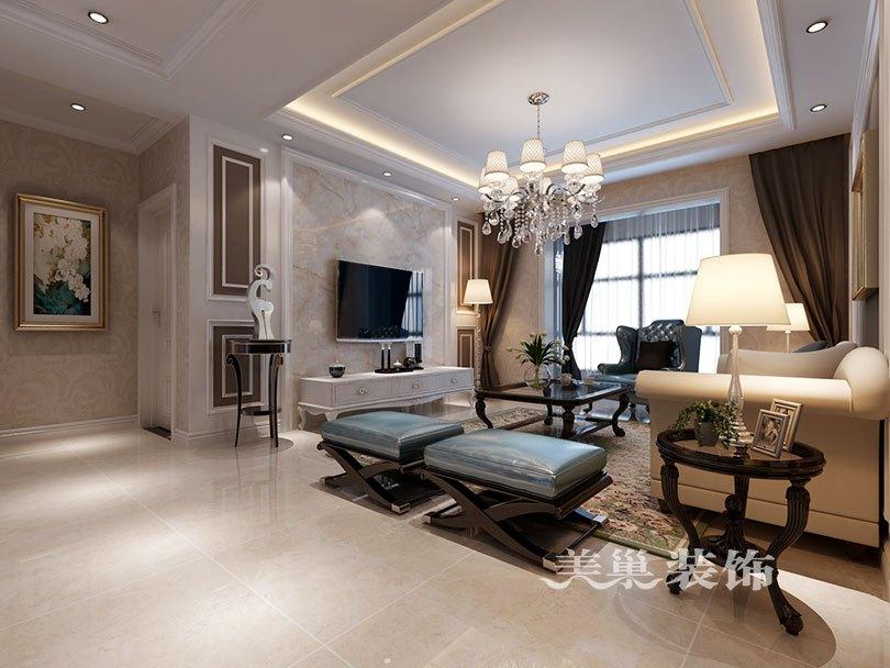电视背景墙,客厅选择石材与实木线条相结合,让欧式更显大气舒适.