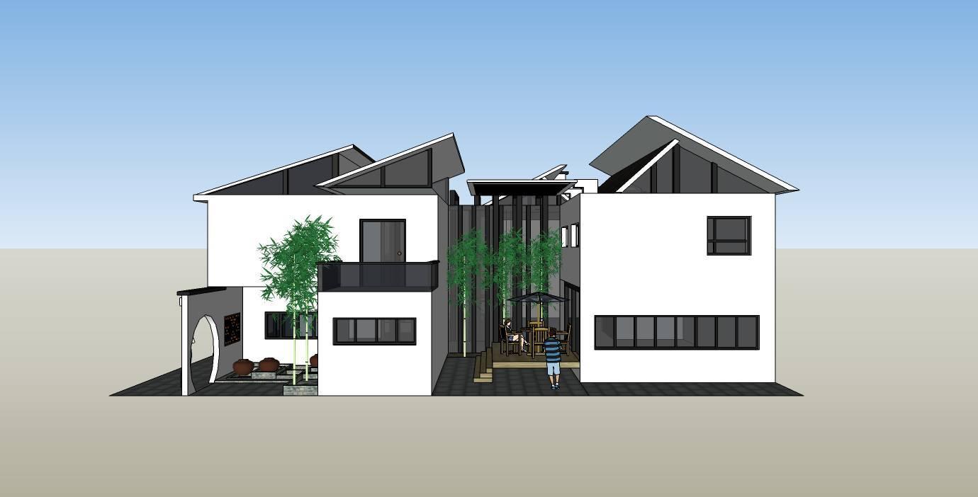 5 现代中式小清新别墅 【建筑面积】:246平方米 【建筑高度】:7.