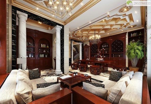欧式别墅配中式红木家具,满满壕宅风!感不感动?