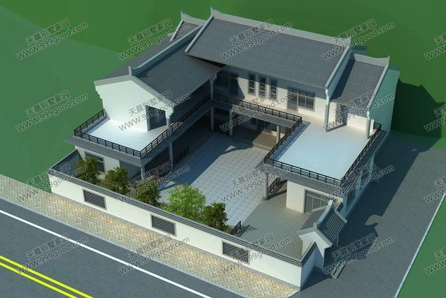 广东新农村兄弟合建三层双拼房屋设计效果图图片