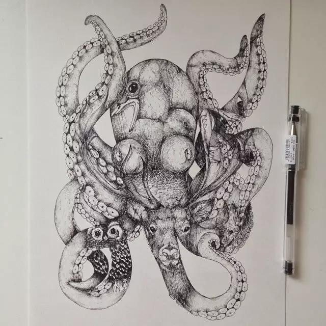 中性笔画的黑白插图,从动物世界到人的超现实转化
