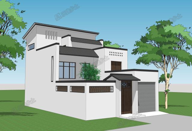 这是一个新中式风格自建房,墙体采用白色涂料,墙体顶部用黑色砖石