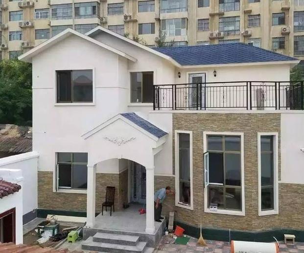二层农村小别墅施工案例,轻钢25万砖混30万