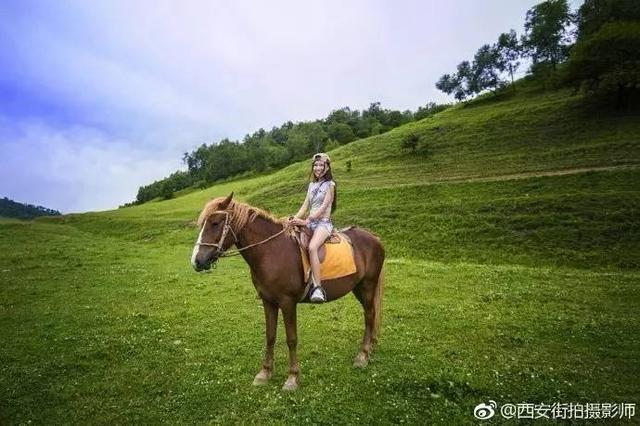 美女在宝鸡关山草原上骑马 感觉也美极了