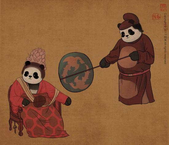 国宝大熊猫萌一脸,被艺术家画进唐朝当小贵妇