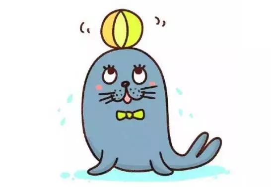 幼儿园创意亲子简笔画:会耍杂技的动物小海狮