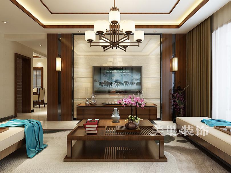 电视背景墙,实木护墙板与天然石材结合,复古又具有现代感,散发出迷人