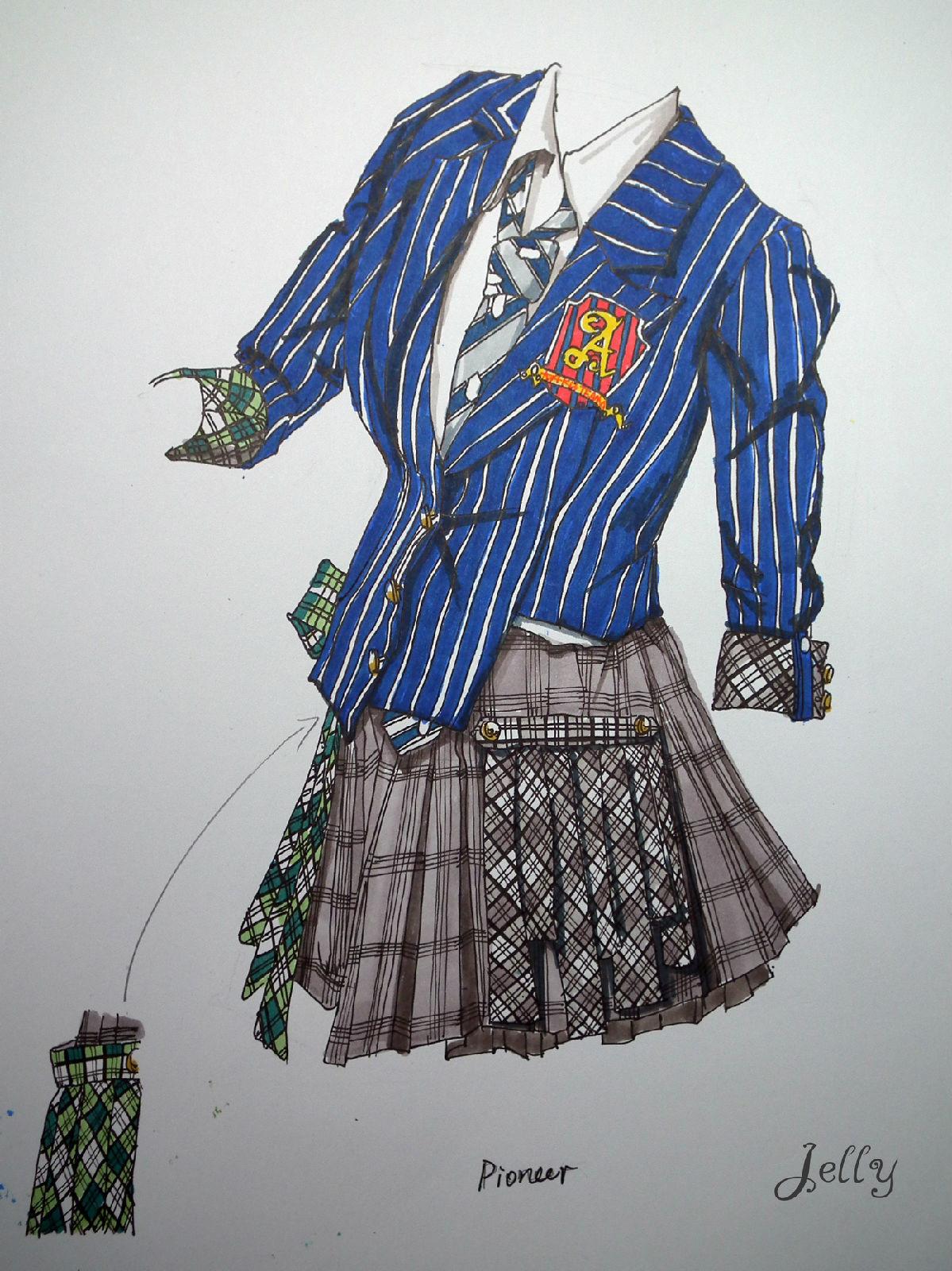 超强服装设计手绘图 akb48可爱的百变演出服