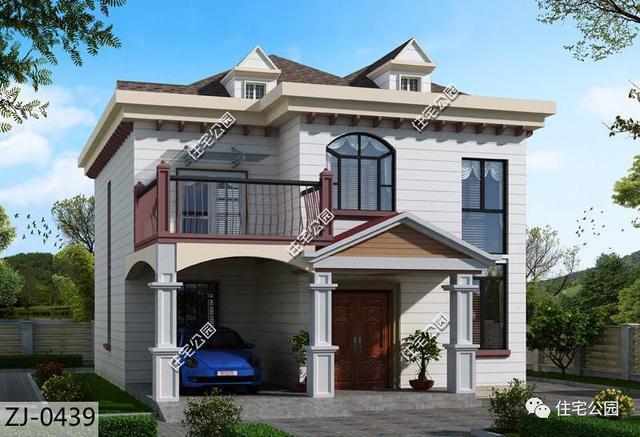 半平半坡的雅致二层小别墅,带车壳,大门非常大气,坡顶美观,时尚,平顶图片