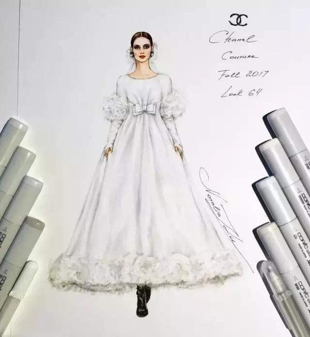 这样的手绘婚纱我决定结婚就按这个定制,太美了!
