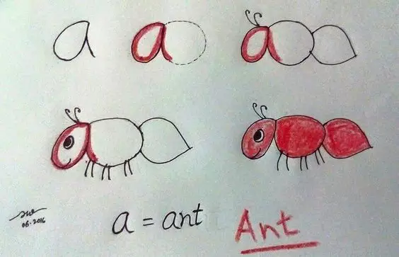幼儿园创意亲子简笔画 26个字母让孩子学得透彻