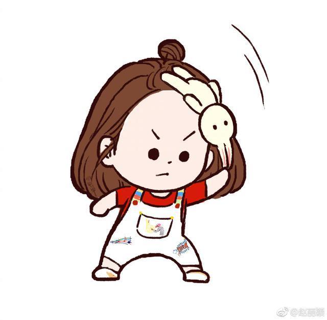赵丽颖被自己的漫画可爱到了,偷图发微博
