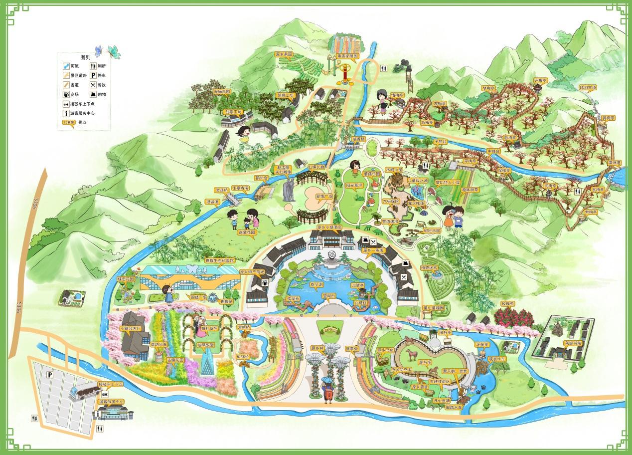亮点一 原乡小镇手绘地图 从杭州自驾出发,沿长深高速(湖州方向),转至