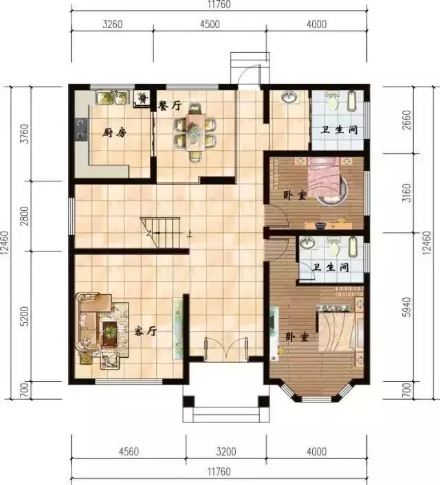 11.7x12.4米三层农村别墅,难得一见文艺范儿户型